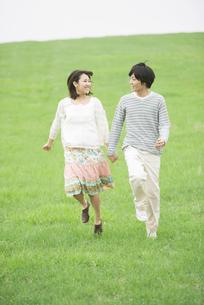 草原で手をつなぐカップルの写真素材 [FYI04557245]
