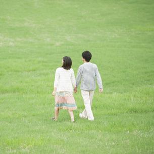 草原で手をつなぐカップルの後姿の写真素材 [FYI04557248]