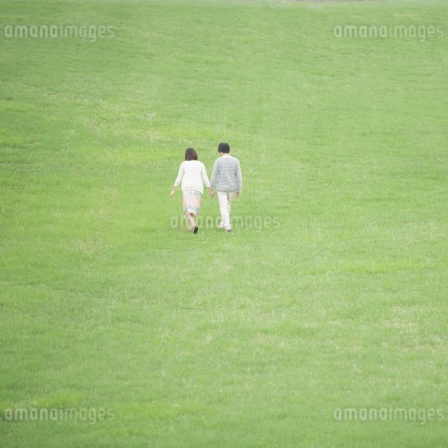 草原で手をつなぐカップルの後姿の写真素材 [FYI04557249]