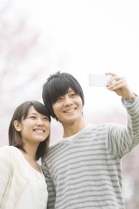 桜の前で自撮りをするカップルの写真素材 [FYI04557306]