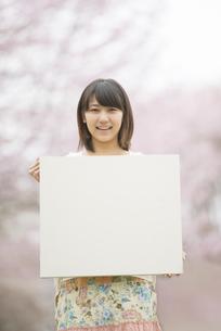 桜の前でメッセージボードを持つ女性の写真素材 [FYI04557309]