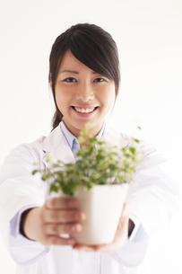 観葉植物を持つ研究者の写真素材 [FYI04557769]