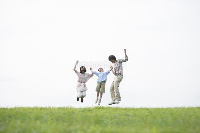草原でジャンプをする家族の写真素材 [FYI04558039]