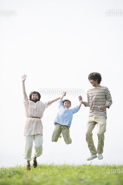 草原でジャンプをする家族の写真素材 [FYI04558041]