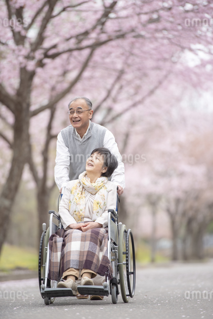 車椅子で散歩するシニア夫婦の写真素材 [FYI04558365]