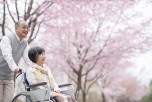 車椅子で散歩するシニア夫婦の写真素材 [FYI04558367]