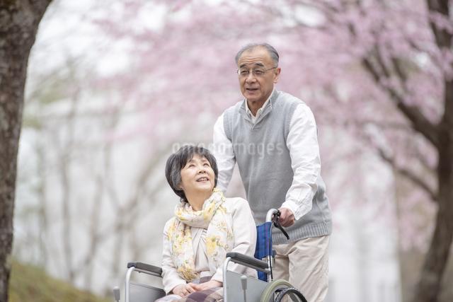 車椅子で散歩するシニア夫婦の写真素材 [FYI04558370]