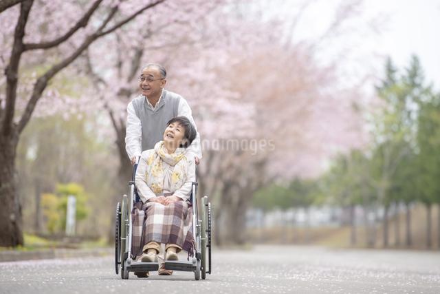 車椅子で散歩するシニア夫婦の写真素材 [FYI04558373]