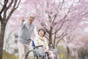 車椅子で散歩するシニア夫婦の写真素材 [FYI04558376]