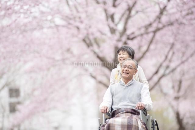 車椅子で散歩するシニア夫婦の写真素材 [FYI04558379]