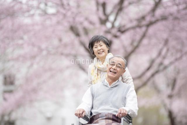 車椅子で散歩するシニア夫婦の写真素材 [FYI04558381]