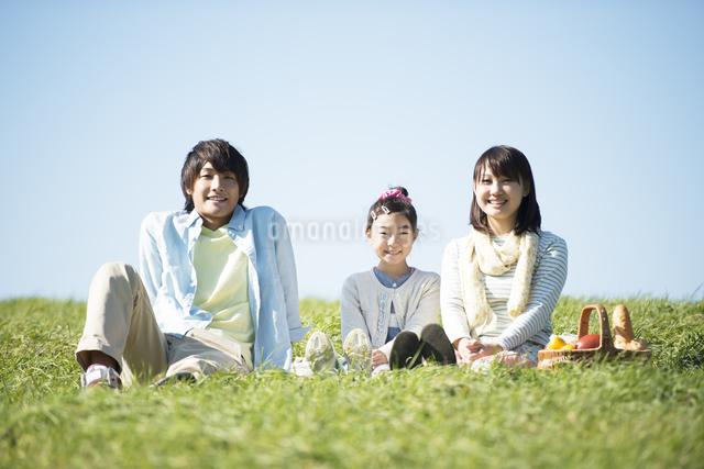 草原でピクニックをするファミリーの写真素材 [FYI04558488]