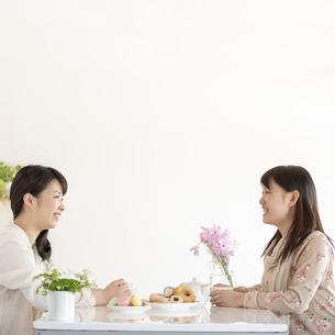 ティータイムを楽しむ2人の女性の写真素材 [FYI04558765]