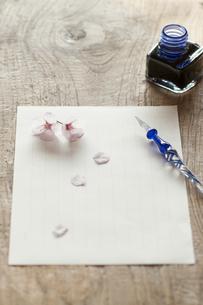 桜と便箋の写真素材 [FYI04559924]
