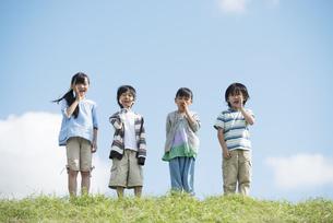 草原で叫ぶ小学生の写真素材 [FYI04560375]