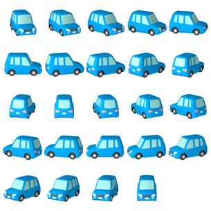デフォルメ自動車 青いワゴン車 マルチアングルのイラスト素材 [FYI04560528]