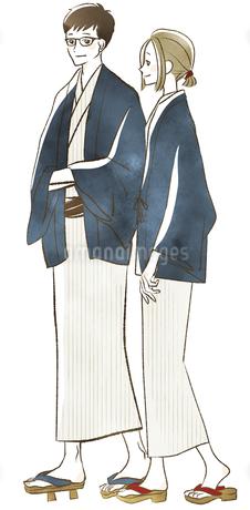 浴衣の夫婦・カップル-旅館-温泉のイラスト素材 [FYI04560656]