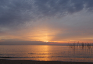 水平線上に広がる朝日の光の写真素材 [FYI04560726]