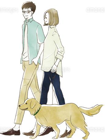犬の散歩をする夫婦・カップルのイラスト素材 [FYI04561071]