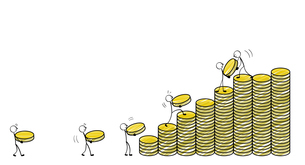 硬貨を積み上げる人々のイラスト素材 [FYI04561144]
