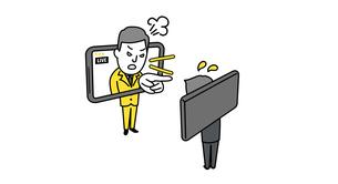 オンラインで叱るビジネスパーソンのイメージイラストのイラスト素材 [FYI04561148]