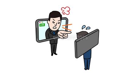 オンラインで叱るビジネスパーソンのイメージイラストのイラスト素材 [FYI04561150]