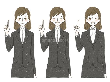 スーツ-女性-笑顔-人差し指を立てるのイラスト素材 [FYI04561319]