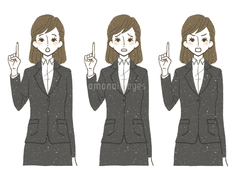 スーツ-女性-人差し指を立てるのイラスト素材 [FYI04561320]
