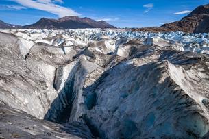 パタゴニアのビエドマ氷河:セラック地帯とクレバスの写真素材 [FYI04561456]