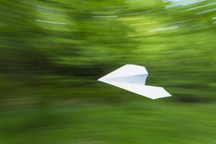 森の中を飛ぶ紙飛行機の写真素材 [FYI04562051]