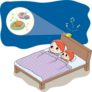 ベッドでホームシアターを見る親子のイラスト素材 [FYI04562270]