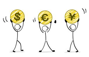 通貨を持つ人々のイラスト素材 [FYI04562689]