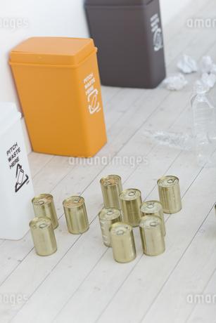 別されたカン・ペットボトル・可燃ゴミとゴミ箱の写真素材 [FYI04562917]