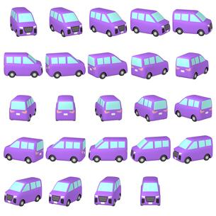 デフォルメ自動車 紫色のミニバン マルチアングルのイラスト素材 [FYI04563843]