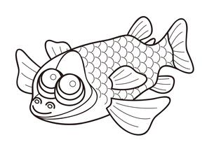 デメニギス 深海魚 キャラクター ぬりえ イラストのイラスト素材 [FYI04564217]