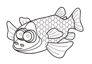 デメニギス 深海魚 キャラクター ぬりえ イラストのイラスト素材 [FYI04564221]