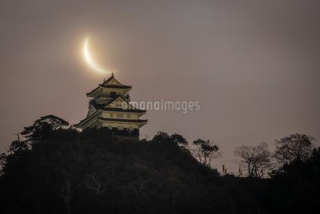 明け方の月の写真素材 [FYI04564553]