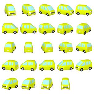 デフォルメ自動車 チャートリュースの丸いミニバン マルチアングルのイラスト素材 [FYI04564695]
