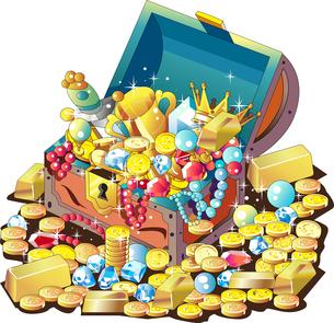 金貨や宝石がいっぱい詰まった宝箱のイラスト素材 [FYI04568255]