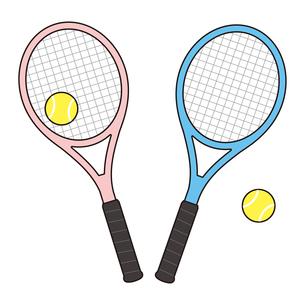 テニスラケットとテニスボールのセット イラストのイラスト素材 [FYI04568427]