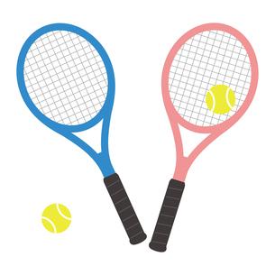テニスラケットとテニスボールのセット イラストのイラスト素材 [FYI04568428]