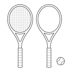 ガットが張ってあるテニスラケットとガットなしのテニスラケットとボールのセット イラストのイラスト素材 [FYI04568429]