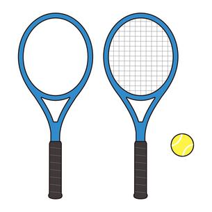 ガットが張ってあるテニスラケットとガットなしのテニスラケットとボールのセット イラストのイラスト素材 [FYI04568430]