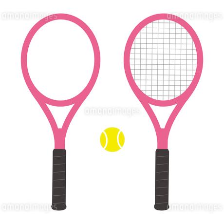 ガットが張ってあるテニスラケットとガットなしのテニスラケットとボールのセット イラストのイラスト素材 [FYI04568431]