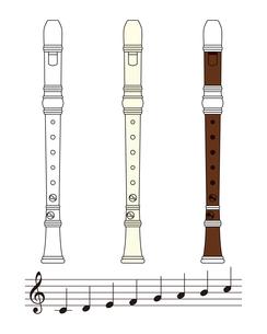 リコーダーと音符のセット イラストのイラスト素材 [FYI04568495]