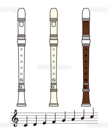リコーダーと音符のセット イラストのイラスト素材 [FYI04568496]