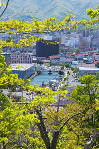 小樽運河と小樽市街地と新緑の写真素材 [FYI04568855]