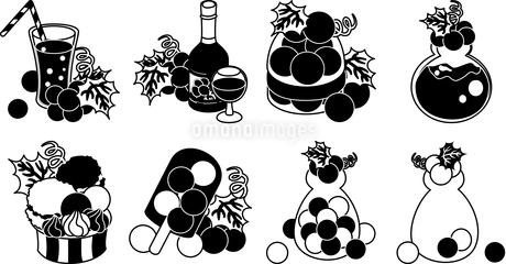 ぶどうのジュースとワインとゼリーとジャムとアイスクリームとシャーベットとキャンディのイラスト素材 [FYI04569110]