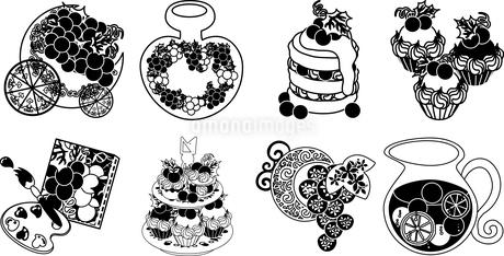 ぶどうのオブジェとシロップとパンケーキとカップケーキと絵画とスイーツと宝石のイラスト素材 [FYI04569112]