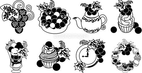 ぶどうのパイとタルトとカップケーキとパフェとモンブランとティーポットと時計とオブジェとリースのイラスト素材 [FYI04569113]